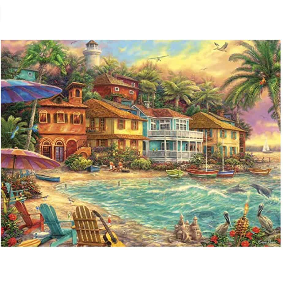 Buffalo Games Chuck Pinson Island Time 1000 Piece Jigsaw Puzzle Now .97