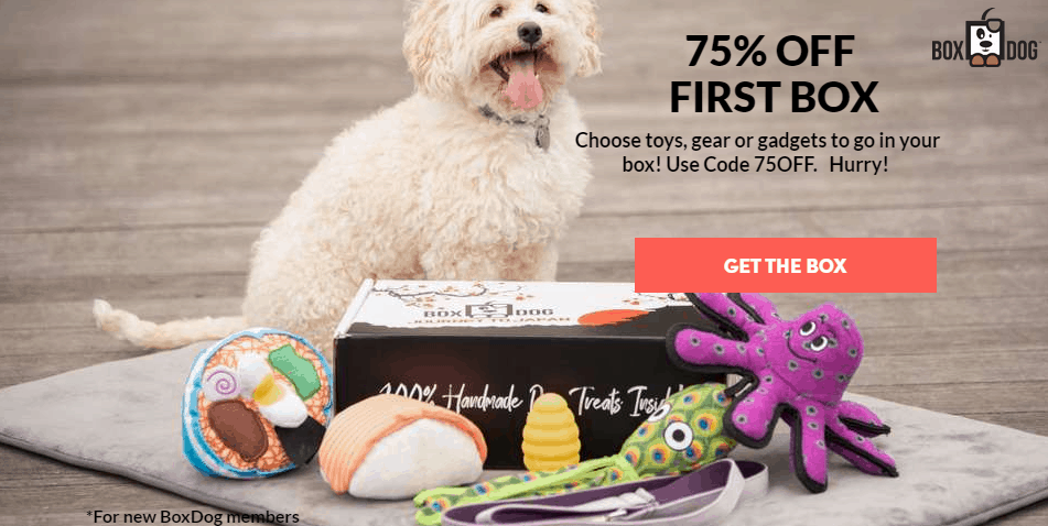 Get 75% Off Your First Box Dog Shipment - ONLY  Shipped