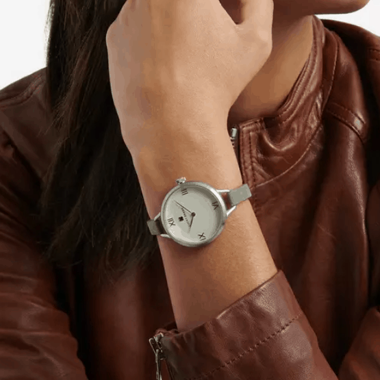 Fossil Indio Sterling Silver Suede Watch  Shipped (Was )