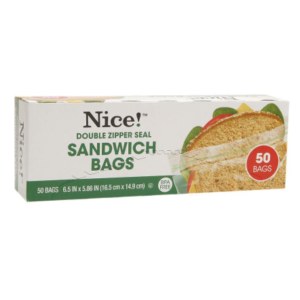 150-Count Nice Resealable Sandwich Bags $2.79