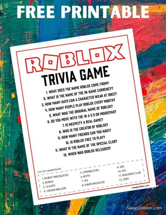 Free Roblox Trivia Game