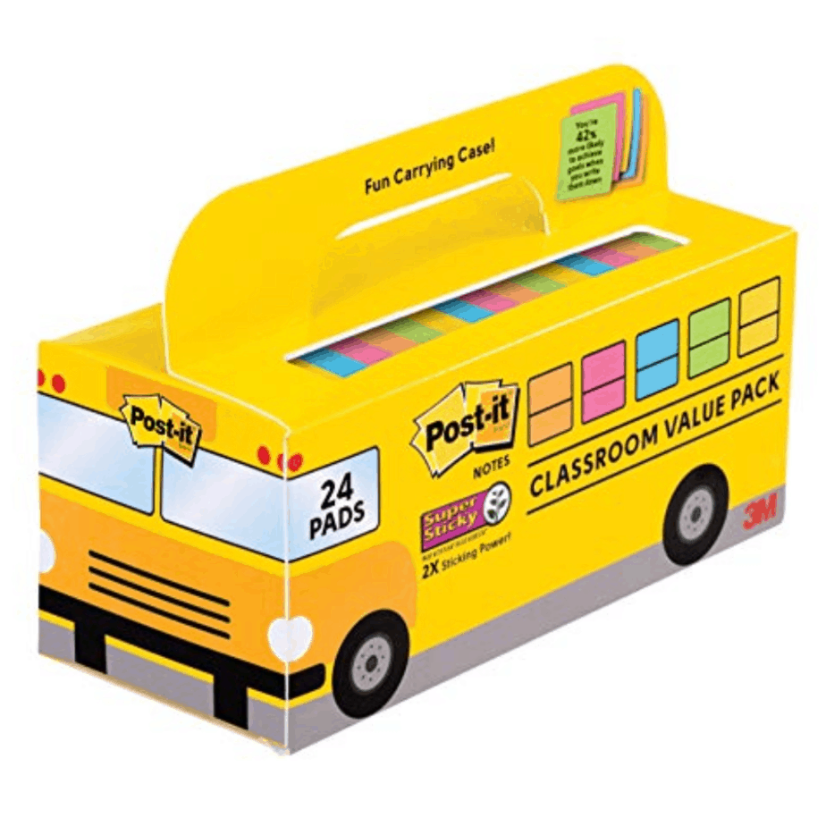 Post-it Super Sticky Notes 24 Pack with School Bus Carry Case Now .75 **Great Teacher Gift**
