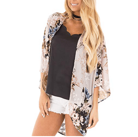 Womens Floral Chiffon Casual Cardigan Now .79