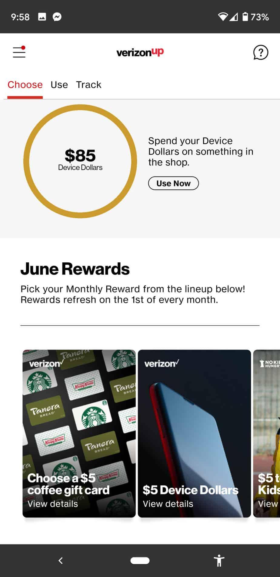 Verizon UP Rewards Offer   Free Starbucks Beverage
