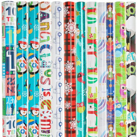"""12 Rolls of Christmas Wrapping Paper, All Occasion Gift Wrap, 24"""" Long, 360 to 400 Square Feet Total"""