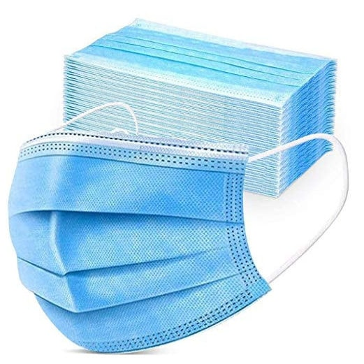 50-Count Disposable 3-Layer Face Masks Only .90