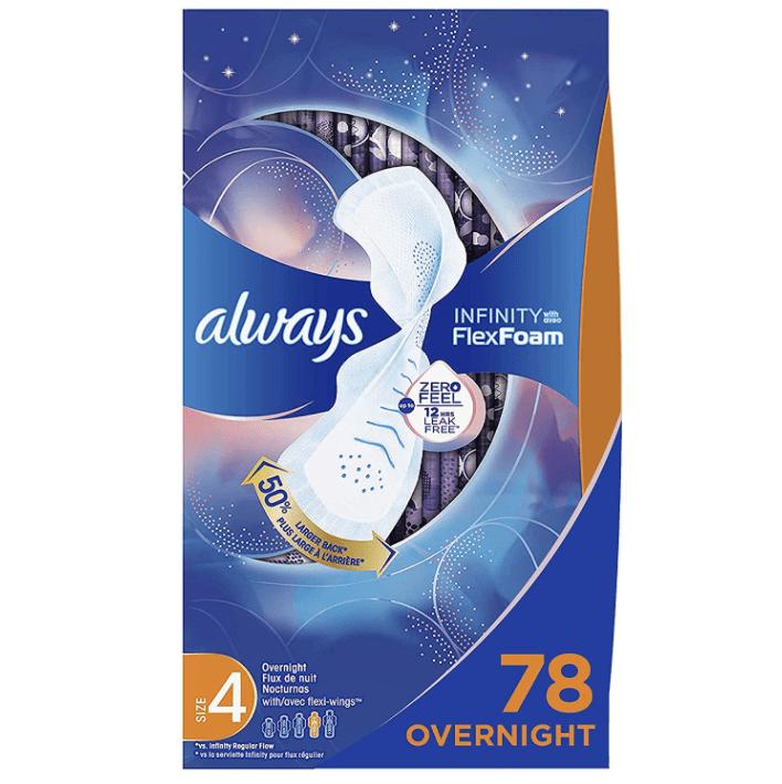 Always Infinity Feminine Pads for Women 78 Count Now .26 (Was .99)