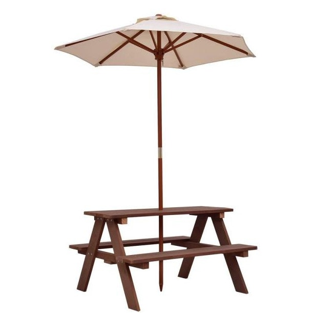 4-Seat Kid's Wood Outdoor Picnic Table Bench with Umbrella 4 (Was 0)