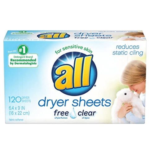 all Fabric Softener Dryer Sheets for Sensitive Skin, Free Clear, 120 Count Now .37
