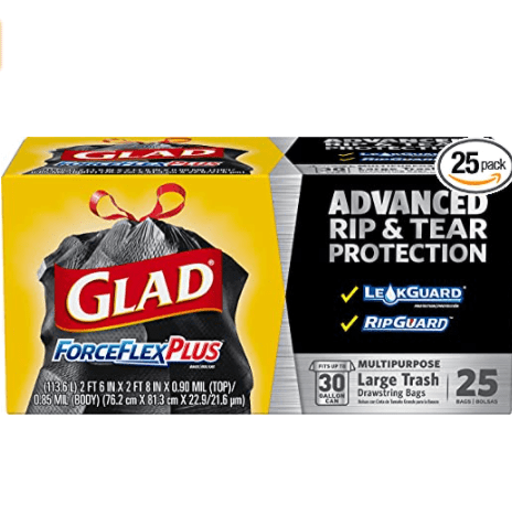Glad ForceFlexPlus Large Drawstring Trash Bags, 30 Gal, 25 Ct Now .85 (Was .28)
