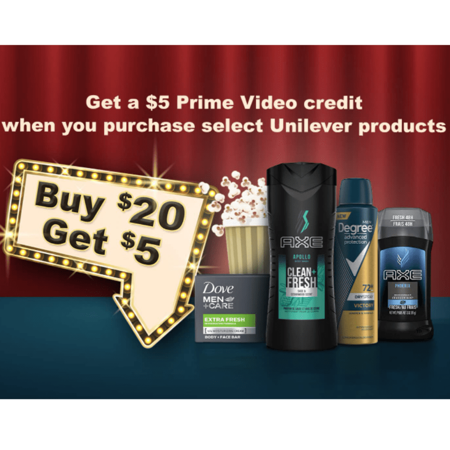 Get a FREE  Prime Video Credit WYB  in Unilever Products