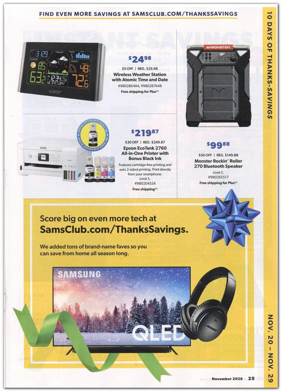 2020 Sam's Club Black Friday Ad Scan