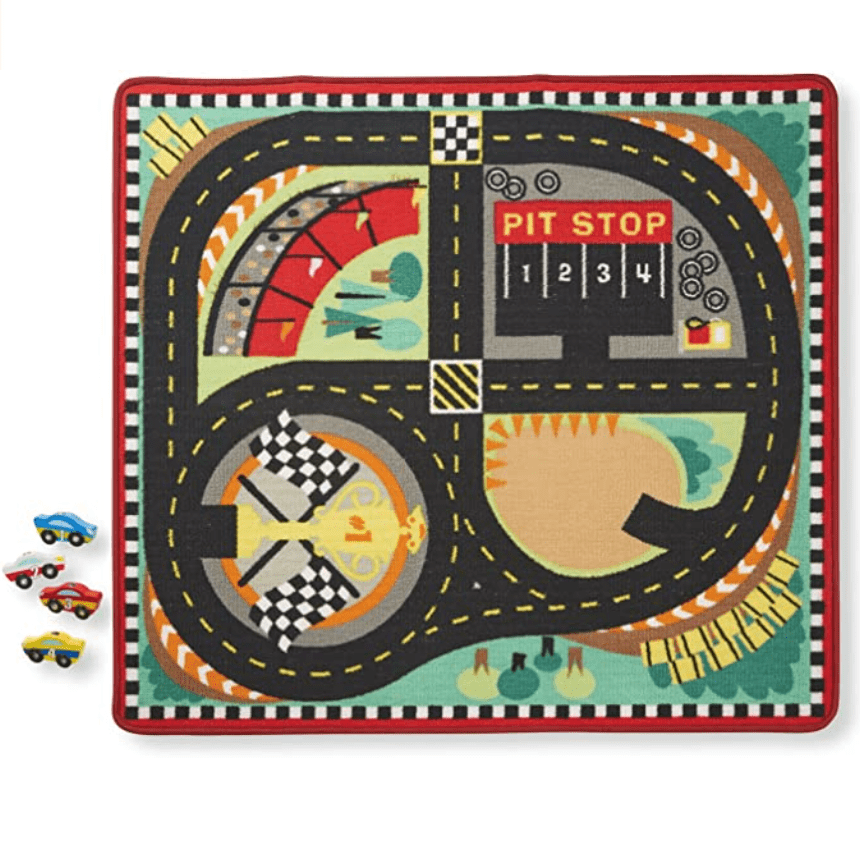 Melissa & Doug Round the Speedway Race Track Rug With 4 Race Cars Now .59 (Was .99)