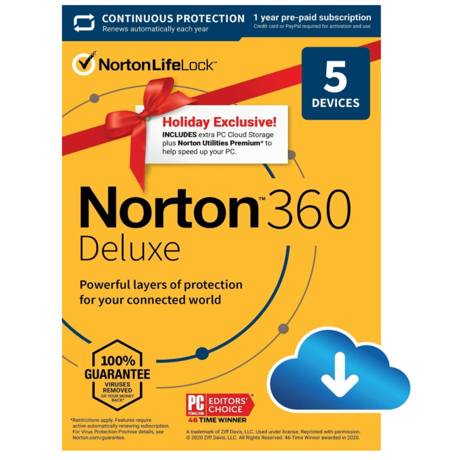 Norton 360 Deluxe 2021 Antivirus Software for 5 Devices Now .99 (Was .99)