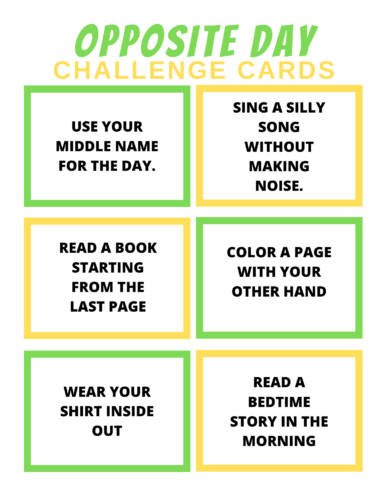 Free Printable Opposite Day Activity Pack