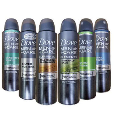 6 Pack of Dove Men+Care Dry Spray Antiperspirant Deodorant Now .45 (Was )