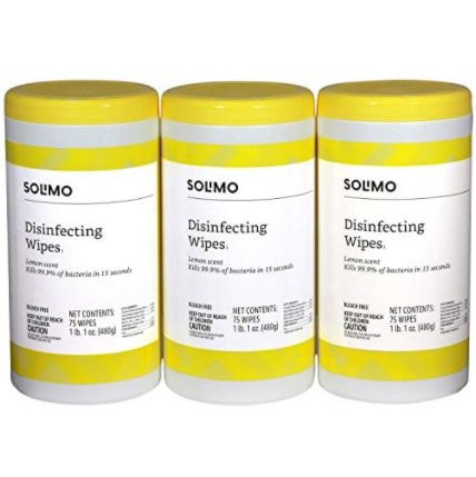 Amazon Brand - Solimo Disinfecting Wipes, 75 Count (Pack of 3) Now .63
