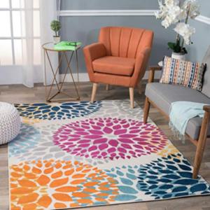 Modern Floral Circles Design Area Rug 7'6