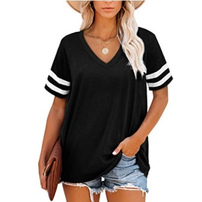 Black V Neck T Shirts Women Loose Short Sleeve Top Now .29