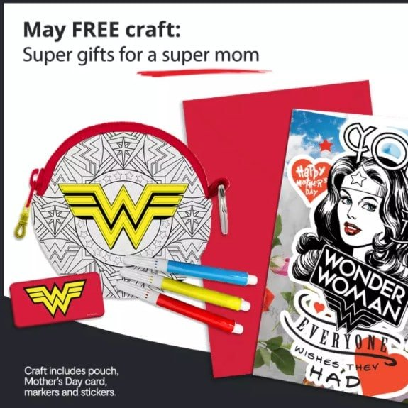 Free Wonder Woman Mother's Day Craft Activity at JCPenney on May 8