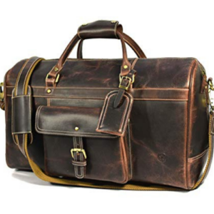Aaron Leather 20 inch Weekender Duffle Bag Walnut Now .99 (Was 9.99)