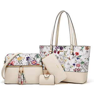 Women Fashion Handbags Tote Bag Shoulder Bag Top Handle Satchel Purse Set 4pcs (Beige-Flower-01) Now .99 (Was .99)