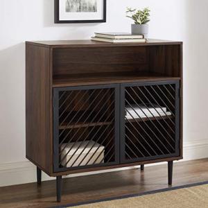 Walker Edison Modern Metal Wood Buffet and Bar Cart Kitchen Storage Cabinet Shelf, 32 Inch, Dark Walnut Brown Now 9.42 (Was 9.00)