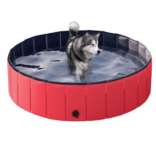 SmileMart Foldable Pet Swimming Pool Wash Tub, Red Now