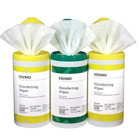 Amazon Brand - Solimo Disinfecting Wipes, 75 Count (Pack of 3) Now .96