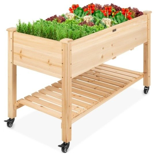 Mobile Raised Garden Bed Elevated Wood Planter w/ Wheels 9 Shipped