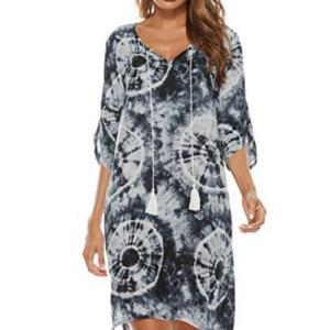 Women Tie Neck Vintage Summer Shift Tie Dye Dress M Now .54 (Was .99)