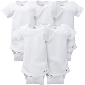Gerber Baby 5-pack Solid Onesies Bodysuits, White, Preemie Now .49 (Was .99)