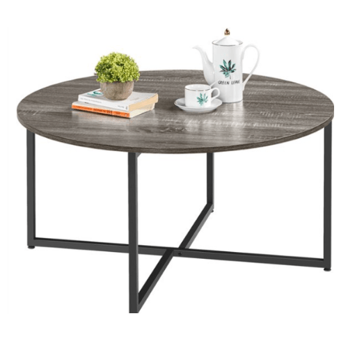 SmileMart Round Coffee Table Cocktail Table with Metal Legs Now