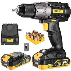 Cordless Drill, TECCPO 20V Drill Driver Now .98 (Was .97)