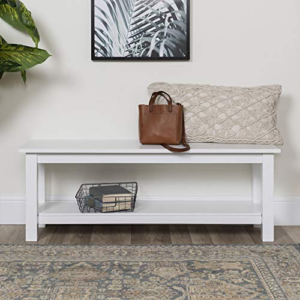 Walker Edison Farmhouse Wood Entryway Dining Bench, 50 Inch, White Now 4.10 (Was 9.00)