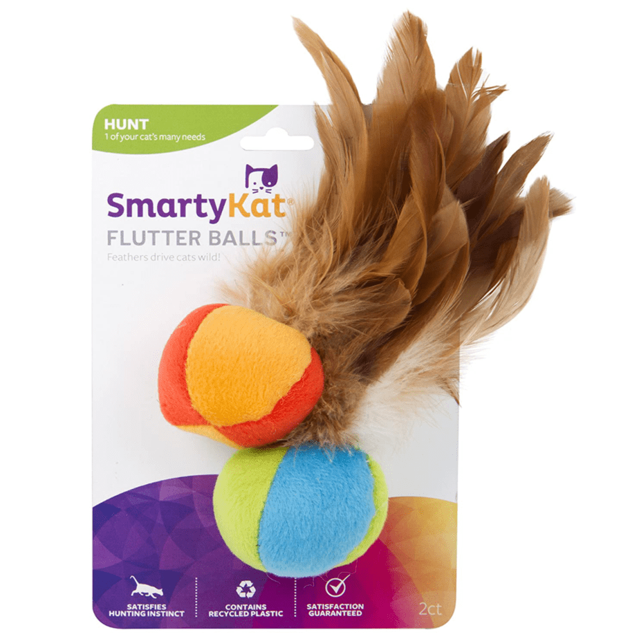 SmartyKat Flutter Ball Cat Toy Feather Ball 2 Pack Now .50