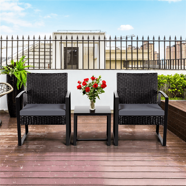 Easyfashion 3-Piece Bistro Set with Rattan Chairs Only 7.99