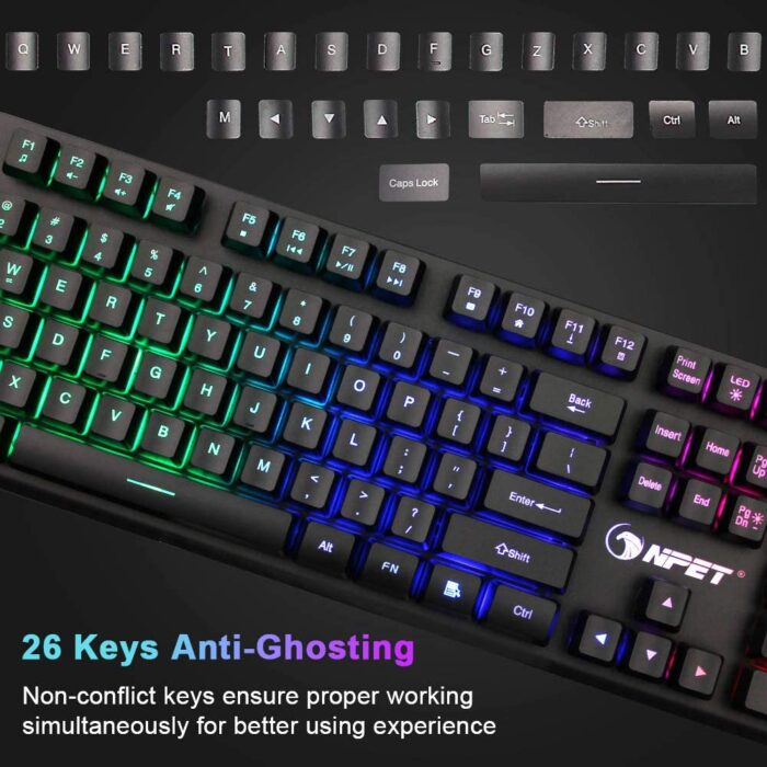 NPET K10 USB Wired Floating Gaming Keyboard Now .99 (Was .99)