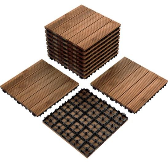 11 Indoor & Outdoor Wood Flooring Tiles for Patio Garden Only .99