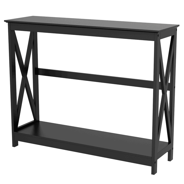 SmileMart 2-Tier X Design Wood Console Table with Shelf Only .88