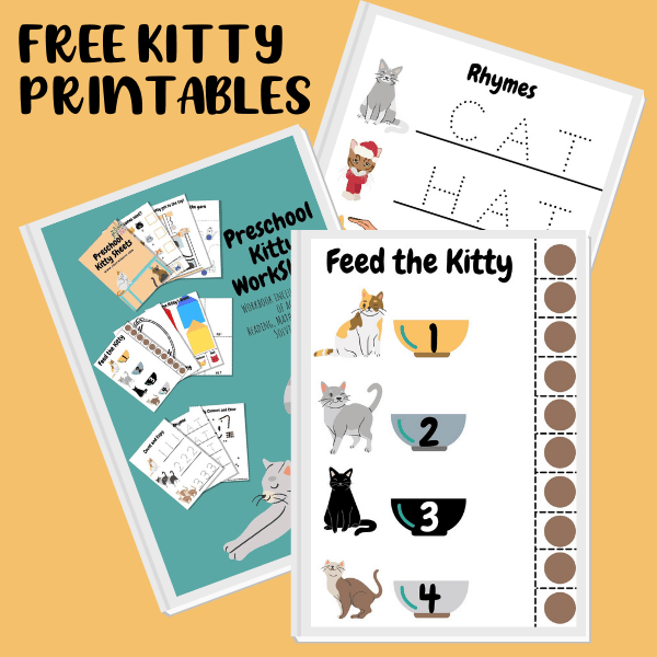 FREE Printable Preschool Kitty Worksheets