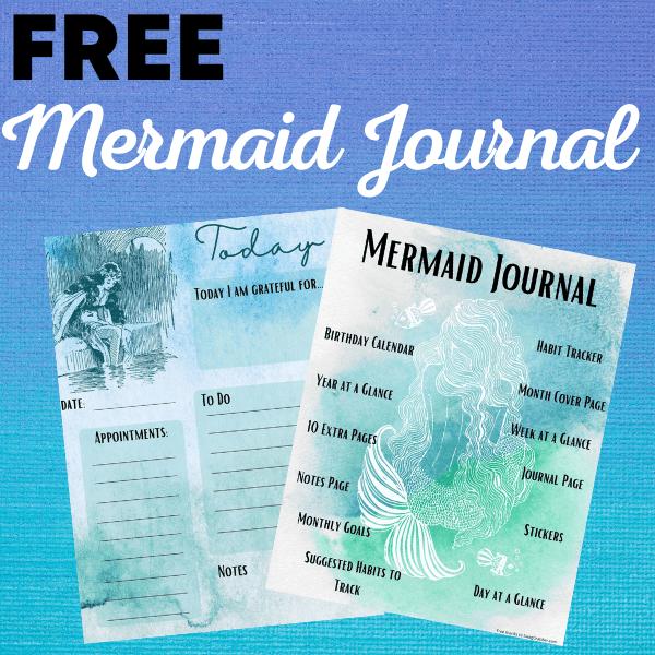 Free Printable or Digital Mermaid Journal **77 Pages**