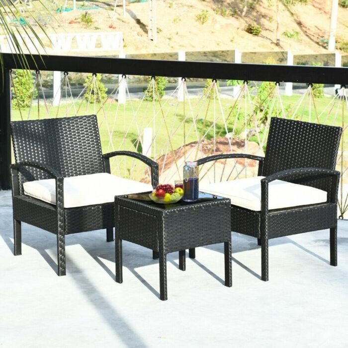 Set of 2 Rattan Cushioned Chairs With Garden Table 3.99 Shipped (Retail 0)