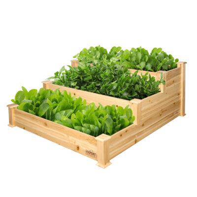 Expert Gardener 3-Tier Wood Garden Bed, 4 ft L x 4 ft W x 22 in H Only $40