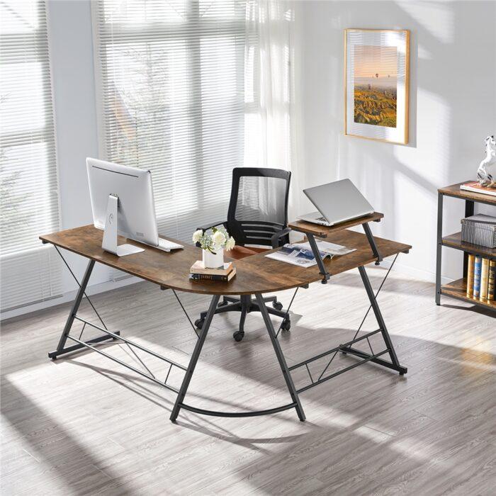 SmileMart Wide L-shaped Corner Home Office Computer Desk Only .80