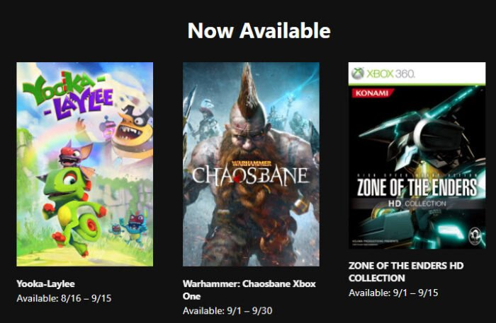 Get 3 FREE Xbox Games During September