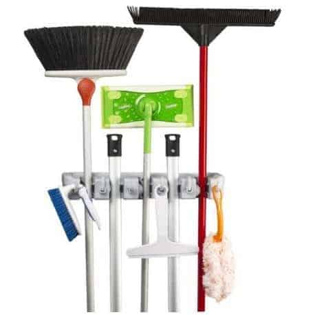 Wall Mounted Mop, Broom, & Sports Equipment Storage Organizer Only .49 **Holds 11 Tools**
