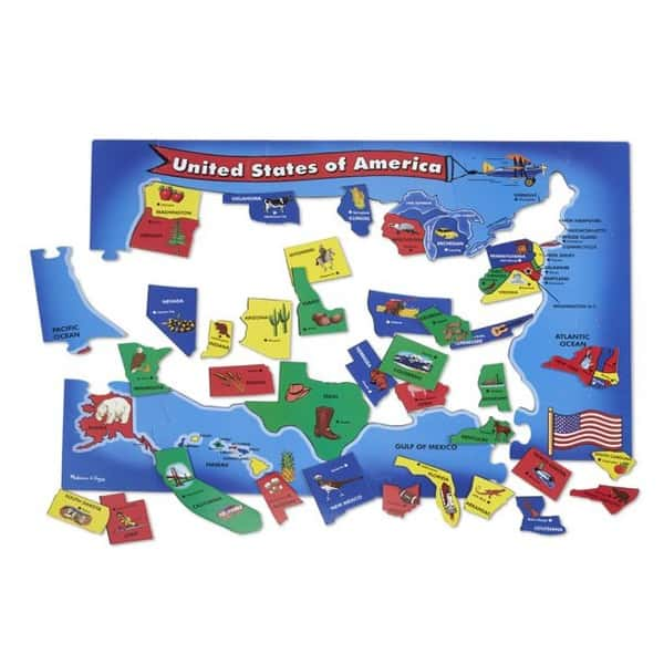 51-Pieces Melissa & Doug USA Map Floor Puzzle Only .29