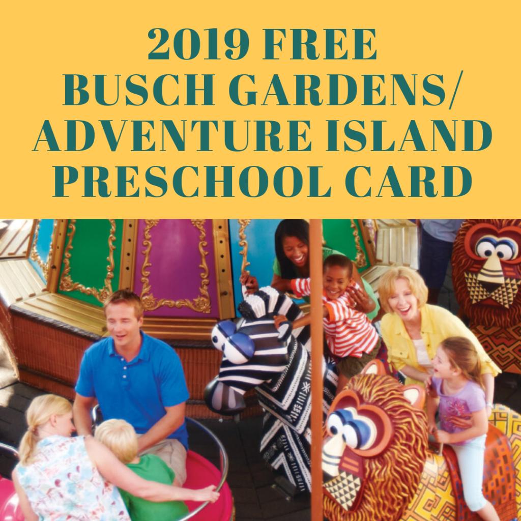 2019 FREE SeaWorld Orlando Busch Gardens Tampa Preschool Card (1)