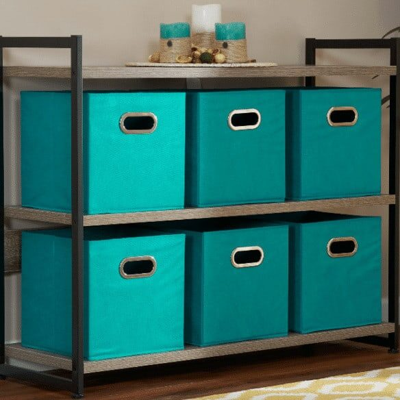 Household Essentials Open Fabric Storage Cube Bins